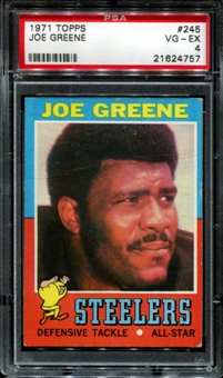 1971 Topps Football #245 Joe Greene Rookie PSA 4 (VG-EX) *4757