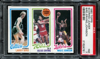 1980/81 Topps Basketball Larry Bird / Magic Johnson Rookie PSA 7 (NM) *4761