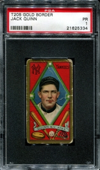 1911 T205 Gold Border Cycle Jack Quinn PSA 1 (PR) *5334