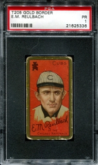 1911 T205 Gold Border Cycle Ed Reulbach PSA 1 (PR) *5336