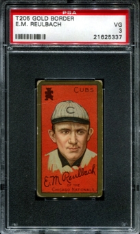 1911 T205 Gold Border Cycle Ed Reulbach PSA 3 (VG) *5337