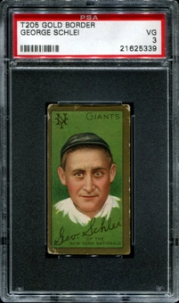 1911 T205 Gold Border Cycle George Schlei PSA 3 (VG) *5339