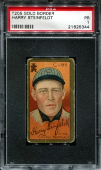 1911 T205 Gold Border Cycle Harry Steinfeldt PSA 1 (PR) *5344