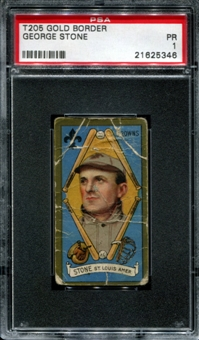 1911 T205 Gold Border Cycle George Stone PSA 1 (PR) *5346