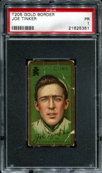 1911 T205 Gold Border Cycle Joe Tinker PSA 1 (PR) *5351