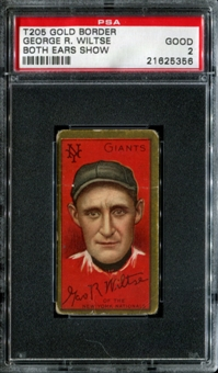 1911 T205 Gold Border Cycle George Wiltse (Both Ears Show) PSA 2 (GOOD) *5356