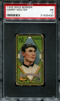 1911 T205 Gold Border Cycle Harry Wolter PSA 1 (PR) *5430