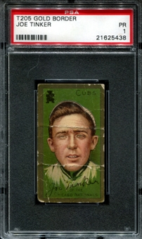 1911 T205 Gold Border Hassan Joe Tinker PSA 1 (PR) *5438