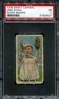 1909-11 T206 Sweet Caporal Jake Stahl (Glove Shows) PSA 1 (PR) *5527