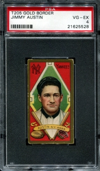 1911 T205 Gold Border Cycle Jimmy Austin PSA 4 (VG-EX) *5528