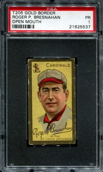 1911 T205 Gold Border Cycle Roger Bresnahan (Open Mouth) PSA 1 (PR) *5537