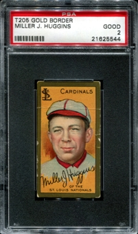 1911 T205 Gold Border Cycle Miller Huggins PSA 2 (GOOD) *5544
