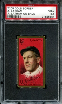 1911 T205 Gold Border Cycle Arlie Latham (A. Latham On Back) PSA 3.5 (VG+) *5551