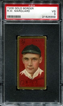 1911 T205 Gold Border Cycle Rube Marquard PSA 3 (VG) *5559