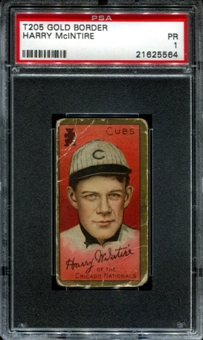 1911 T205 Gold Border Cycle Harry McIntire PSA 1 (PR) *5564