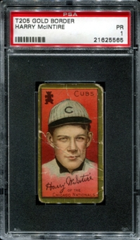 1911 T205 Gold Border Cycle Harry McIntire PSA 1 (PR) *5565