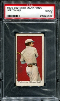 1909 E92 Dockman & Sons Joe Tinker PSA 2 (GOOD) *5692