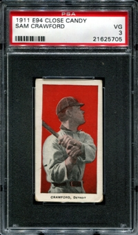1911 E94 Close Candy Sam Crawford PSA 3 (VG) *5705