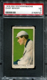 1909 E92 Dockman & Sons Chief Bender PSA 3 (VG) *5722