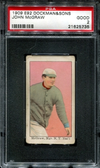 1909 E92 Dockman & Sons John McGraw PSA 2 (GOOD) *5735