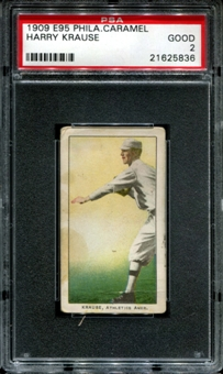 1909 E95 Philadelphia Caramel Harry Krause PSA 2 (GOOD) *5836