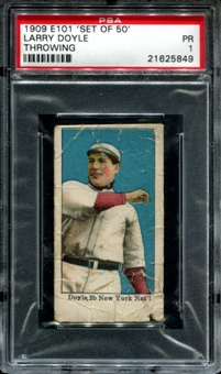 1909 E101 'Set Of 50' Larry Doyle (Throwing) PSA 1 (PR) *5849