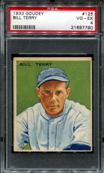 1933 Goudey Baseball #125 Bill Terry PSA 4 (VG-EX) *7790