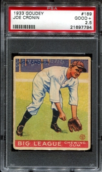 1933 Goudey Baseball #189 Joe Cronin PSA 2.5 (GOOD+) *7794