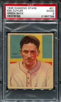 1935 Diamond Stars Baseball #31 Kiki Cuyler PSA 2 (GOOD) *7798