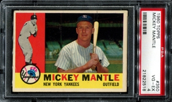1960 Topps Baseball #350 Mickey Mantle PSA 4 (VG-EX) *2518