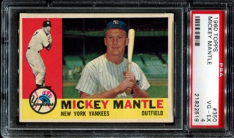 1960 Topps Baseball #350 Mickey Mantle PSA 4 (VG-EX) *2519