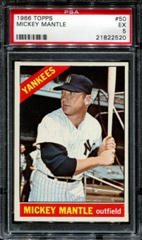 1966 Topps Baseball #50 Mickey Mantle PSA 5 (EX) *2520