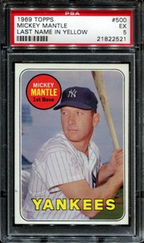 1969 Topps Baseball #500 Mickey Mantle PSA 5 (EX) *2521