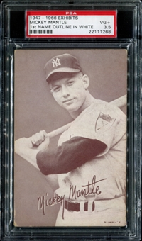 1947-1966 Exhibits Baseball Mickey Mantle (Outlined In White) PSA 3.5 (VG+) *1268