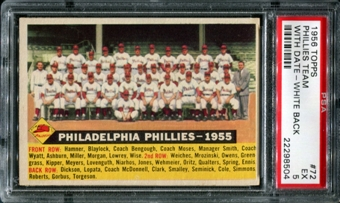 1956 Topps Baseball #72 Philadelphia Phillies Team (With Date) PSA 5 (EX) *8504