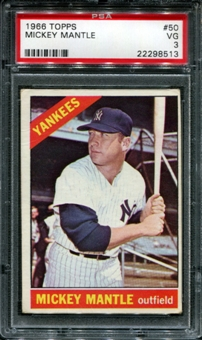 1966 Topps Baseball #50 Mickey Mantle PSA 3 (VG) *8513