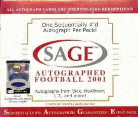 2001 Sage Autographed Football Hobby Box