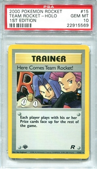 Pokemon Team Rocket Single Here Comes Team Rocket! 15/82 1st Edition - PSA 10