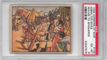 "1938 Gum Inc. Horrors of War #108 ""Gibralter Gives Refuge To Spaniards"" PSA 6 (EX-MT)"
