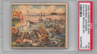 "1938 Gum Inc. Horrors of War #129 ""Swimming Japanese Cavalry"" PSA 5 (EX) *7684"