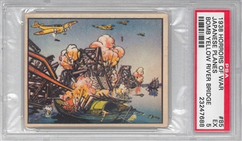 "1938 Gum Inc. Horrors of War #85 ""Japanese Planes Bomb Yellow River Bridge"" PSA 5 (EX)"