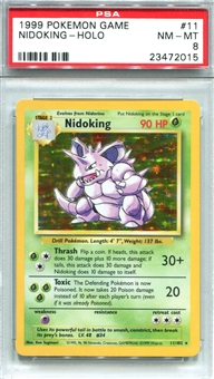 Pokemon Base Set 1 Single Nidoking - PSA 8 *23472015*
