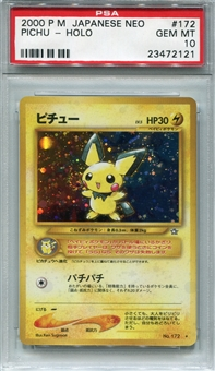 Pokemon Neo Single Pichu Japanese - PSA 10