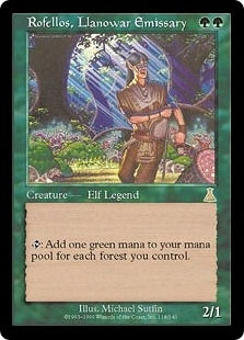Magic the Gathering Urza's Destiny Single Rofellos, Llanowar Emissary - SLIGHT PLAY (SP)