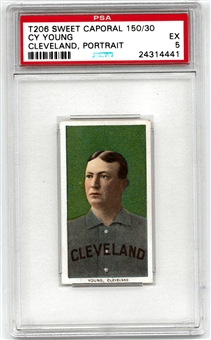 1909-11 T206 Sweet Caporal 150/30 Cy Young Cleveland Portrait PSA 5 (EX) *4441