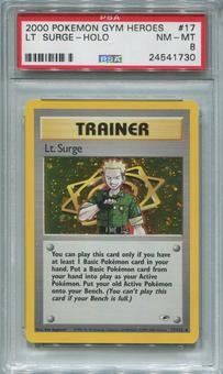Pokemon Gym Heroes Single Lt. Surge 17/132 - PSA 8  *24541730*