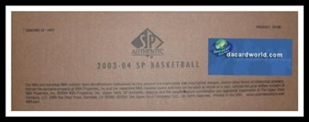 2003/04 Upper Deck SP Authentic Basketball 12 Box Hobby Case