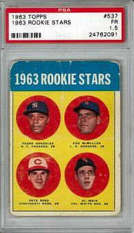 1963 Topps Baseball #537 Pete Rose PSA 1.5 (FR) Rookie *2091