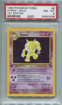 Pokemon Fossil 1st Ed. Single Hypno 8/62 - PSA 8  *24843438*
