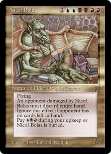 Magic the Gathering Legends Single Nicol Bolas - MODERATE PLAY (MP)